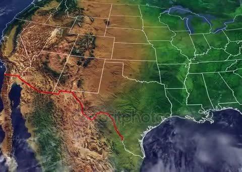 Граница США и Мексики на карте