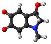 Ball-and-stick model of the adrenochrome molecule