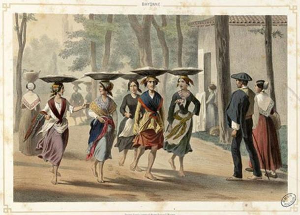 Баскские женщины в Байонне, 1852 г.