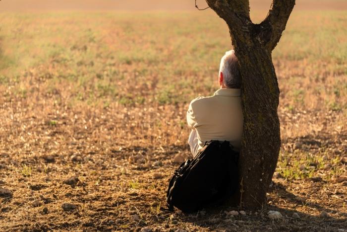 Мужчина сидит у дерева