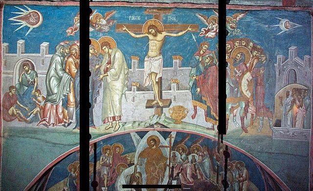 """фреска """"Распятие Христа""""храма спаса вседержителя в дечанском монастыре"""
