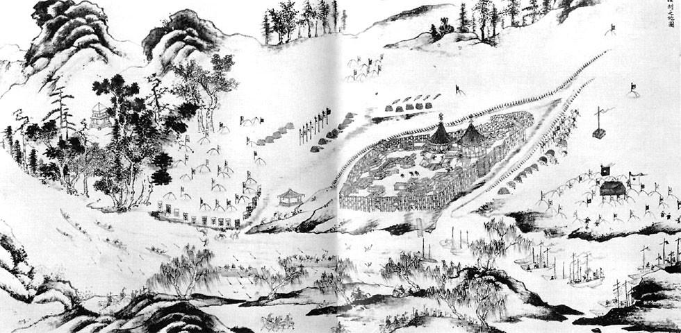 Осада Албазина. Китайский рисунок конца XVII века.